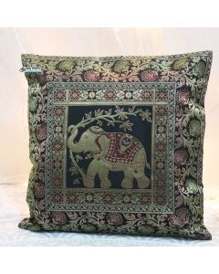 Black Elephant Silk Jacquard throw pillow
