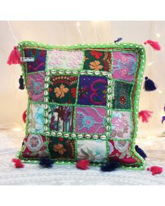 Parrot Green Vintage Collage Cushion Cover with tassels