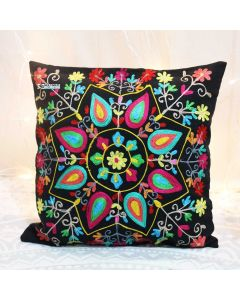 Black Floral Suzani Decorative Pillow