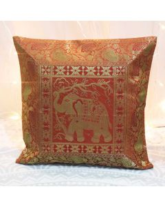Gold Elephant Silk Jacquard throw pillows