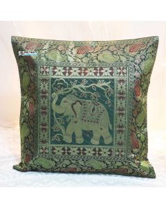 Green Elephant Silk Jacquard throw pillow