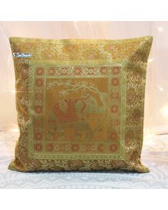 Gold Elephant Silk Jacquard throw pillow