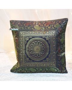 Blue Mandala Silk Jacquard throw pillow