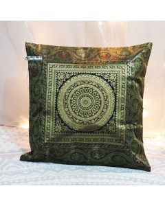 Black Mandala Silk Jacquard throw pillow
