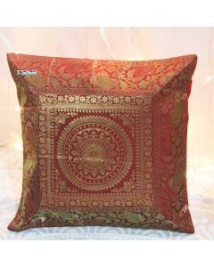 Red Mandala Silk Jacquard throw pillow