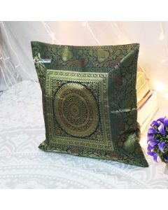 Olive Green Silk Jacquard throw pillow