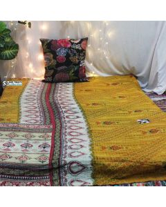Yellow Recycled Vintage Kantha Quilt