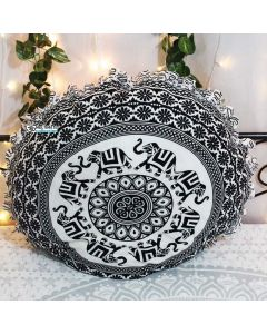 Siddhi Round Floor Pillow - White Border