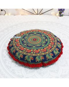 Gypsy Round Floor Pillow - Red Border