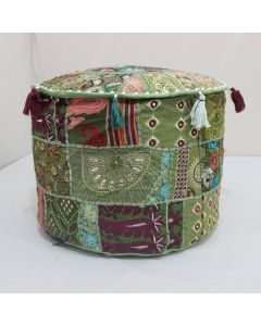 Mehandi Green Embroidered Patchwork Pouf Cover