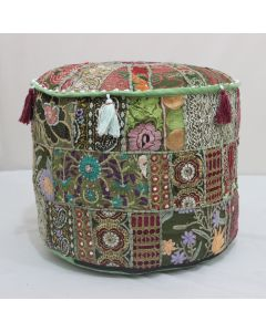 Mehandi Green Embroidered Patchwork Pouf Cover Model 1