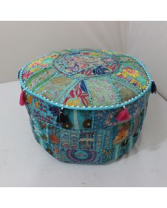 Turquoise Floor Cushion Ethnic Ottoman cover