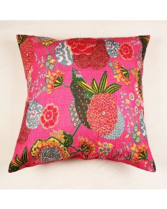 Pink Floral Kantha Cushion Cover