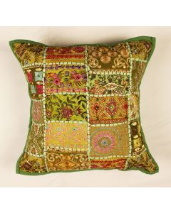 Mehandi Green Vintage Collage Cushion Cover