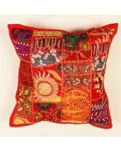 Red Vintage Collage Cushion Cover 16 inch x 16 inch