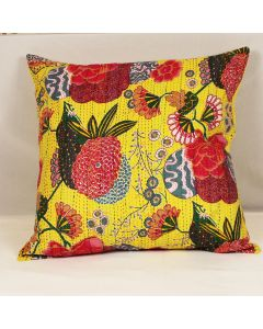 Yellow Floral Kantha Cushion Cover