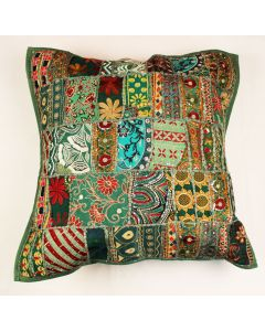 Green Vintage Collage Cushion Cover 16 inch x 16 inch