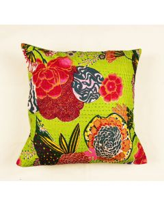 Parrot Green Floral Kantha Cushion Cover