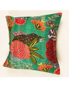 Green Floral Kantha Cushion Cover