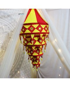 Round Red and yellow lamp shades Level 3