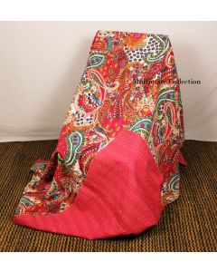 Pink Paisley Kantha Quilt
