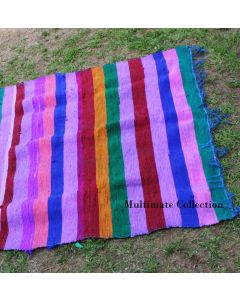 Blue Colorful Outdoor Rug, Cheap area Rug, Indian Dhurrie Rug, Cool Boho Rug