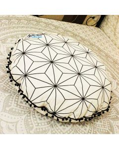 Black and White Star Round Meditation Floor Cushion Cover