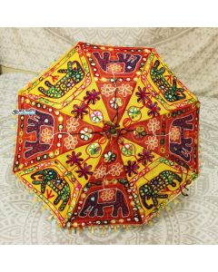 Elephnat Embroidered Indian Parasol