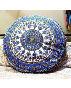 Elephant Bohemian Mandala Round Floor Pillows