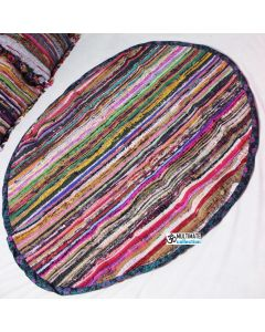 Round Hand Woven Chindi Rag Rug Recycled Area Rug