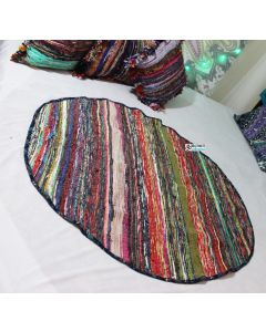 Round Bohemian Recycled Sari Chindi Rug Vintage Throw Hand woven Area Rugs and Carpet