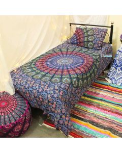 Indie Peacock Mandala Twin Duvet Cover With Pillow Set