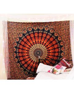 Large Psychedelic Peacock Mandala Tapestry