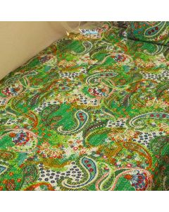 Green Paisley Kantha Quilt
