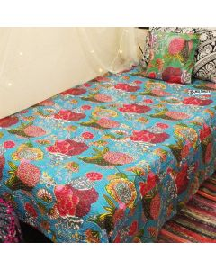 Turquoise Floral Kantha Quilt