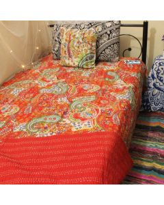 Red Paisley Kantha Quilt