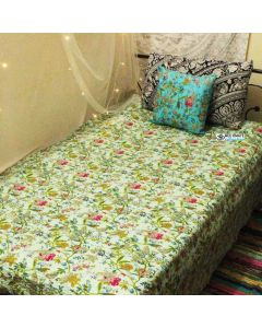 Light Blue Paradise Kantha Quilt