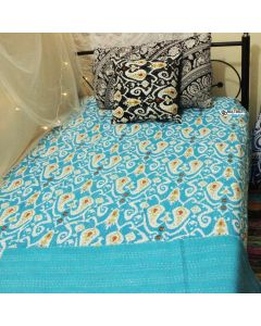 Turquoise Ikkat Drops Kantha Quilt