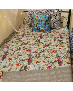 Gray Bird Kantha Quilt