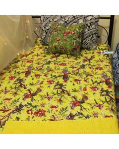 Yellow Bird Kantha Quilt