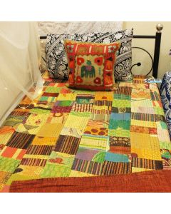 Brown Patchwork Kantha Quilt