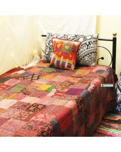 Purple Patchwork Kantha Quilt