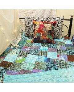 Turquoise Patchwork Kantha Quilt