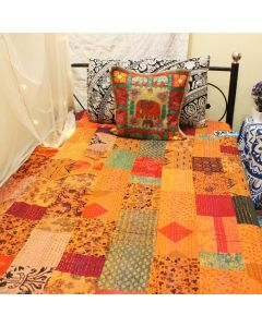 Orange Patchwork Kantha Quilt