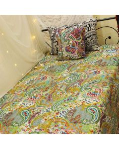 Gray Paisley Kantha Quilt