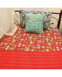 Red Paradise Kantha Quilt