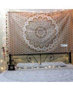 White and Gold Tapestry Bedding Throw
