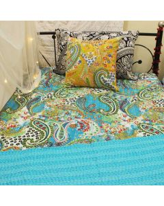 Turquoise Paisley Kantha Quilt