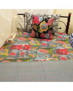 Gray Floral Kantha Quilt
