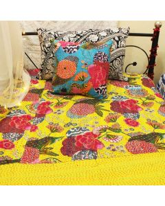 Yellow Floral Kantha Quilt